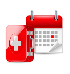 Aid and calendar icon vector image
