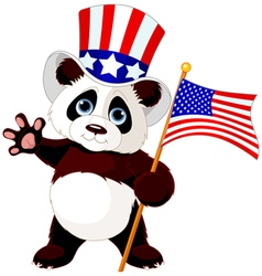 Panda holding american flag vector