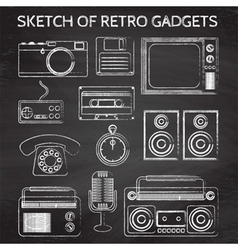 Chalkboard retro gadgets vector