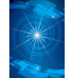 Abstract blue musical background with treble clef vector