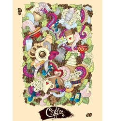 Coffee doodles hand-drawn vector