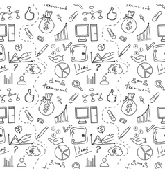 Seamless sketch of business doddle elements vector
