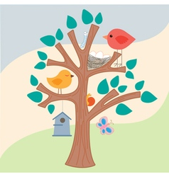Birds tree vector