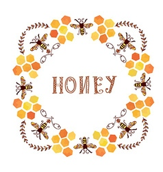 Honey label vintage style vector