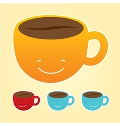Smiling cup of coffee icons set vector