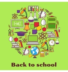 Back to school background with school supplies vector