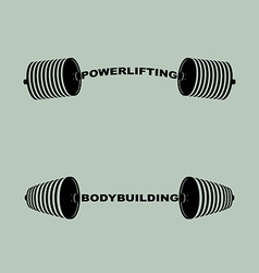 Set sports logos barbell bodybuilding and vector