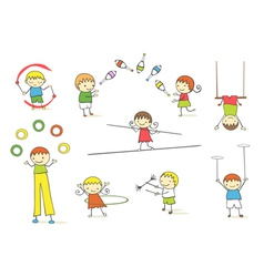 juggling kids vector image