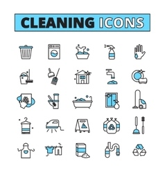 Cleaning hand drawn icon set vector