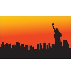 The statue of liberty at sunset vector