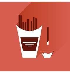 Flat with shadow icon french fries and sauce vector