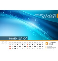 Desk line calendar for 2017 year design print vector