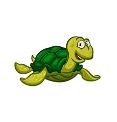 Cartoon swimming sea turtle character vector