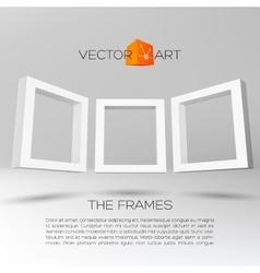 Three white rectangular 3d frames vector