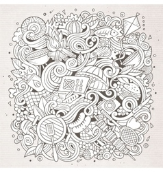 Cartoon doodles hand drawn picnic vector