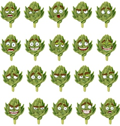Green fresh useful eco friendly artichoke smiles vector