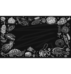 Background seafood on the blackboard vector image
