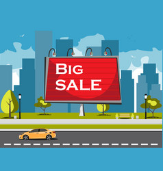 big sale billboard in city vector image