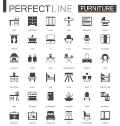 black classic furniture web icons set vector image