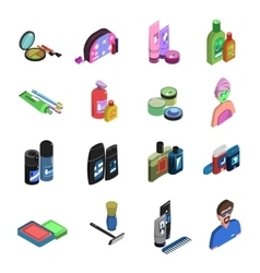 Bodycare isometric icon set vector