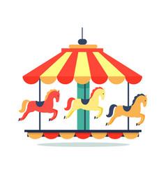 bright revolving carousel icon vector image