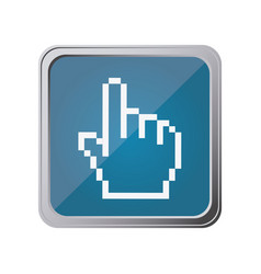button with pixelated hand pointing with vector image vector image