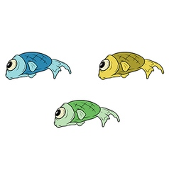 Cartoon set of different fish vector