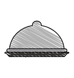 Color crayon stripe silhouette cloche food vector