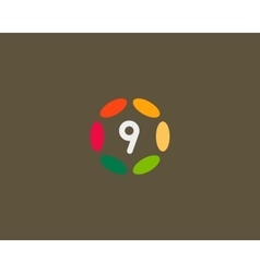 Color number 9 logo icon design hub frame vector