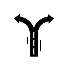 crossroad arrows icon black vector image