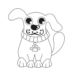Cute dog wearing collar with pet paw tag coloring vector image vector image