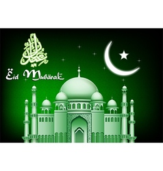 Eid mubarak moon and star background with mosque vector