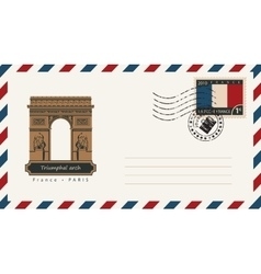 Envelope with a postage stamp with triumphal arch vector