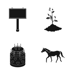 Feet plant growing and or web icon in black style vector