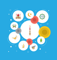 Flat icons decorative minaret holy book and vector