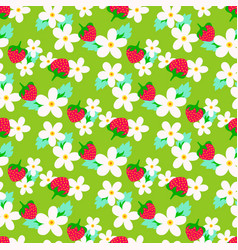 floral seamless pattern with strawberry vector image vector image
