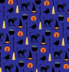 halloween black cat pattern vector image vector image