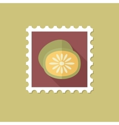 Kiwi flat stamp with long shadow vector image vector image