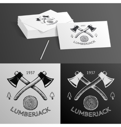 Lumberjack logo symbol hatchet axe wood rings cut vector