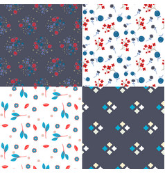 Millefleur flowers and geometric seamless vector