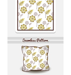 Pillow yellow flowers on white vector