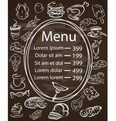 Seamless food menu written on chalkboard with vector