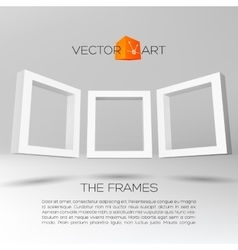 Three white rectangular 3D frames vector image