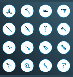 Tools colorful icons set collection of handsaw vector