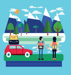 travel car with luggage and couple of traveler vector image