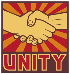 unity poster - handshake unity design vector image