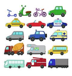 urban transport set vector image vector image