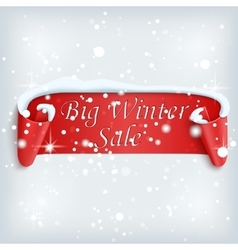 Winter sale background with red realistic ribbon vector image vector image