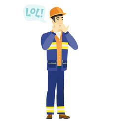 Young asian builder laughing out loud vector