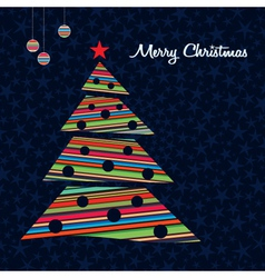 Striped christmas tree background vector